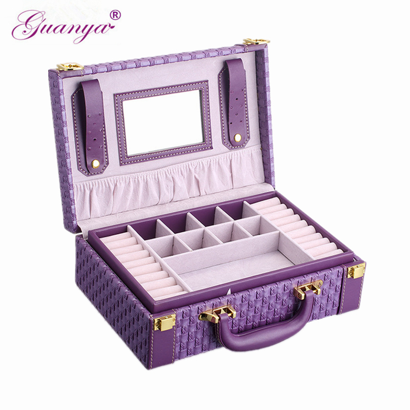 Guanya Portable Braided Pattern Necklace Jewelry Storage Packaging Box Necklace Rings Earrings Organizer Case For Girls Gift
