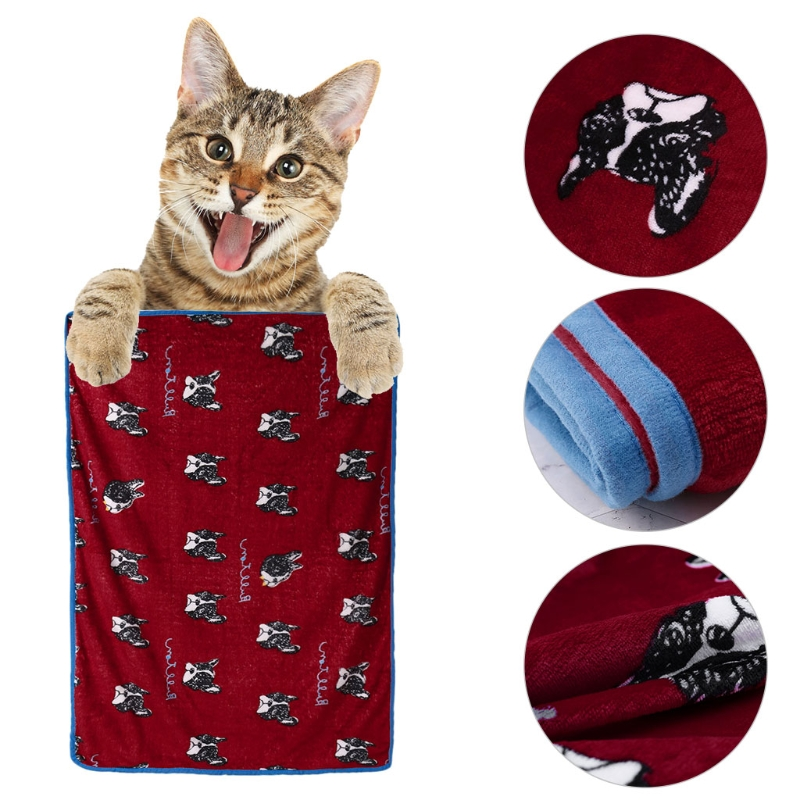 NEW Pet Soft Blanket Pet Cartoon Sleep Blanket Puppy Dog Cat Kennel Cover Cushion