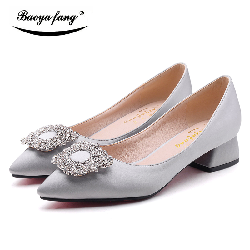 BaoYaFang New Spring/Autumn Ladies Office Signle Shoes Low Heel Shoes Woman Fashion Crystal Buckle Ladies Shoes