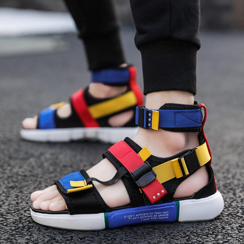 Men Shoes Summer High Top Sandals Fashion Men Gladiator Sandals Outdoor Casual Sandals Shoes Men Sandales Homme 2019 Slides