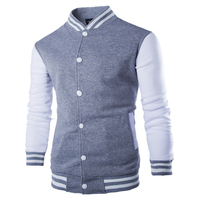 Long Sleeve Casual Brand College Men Baseball Jacket Coats Stand Collar Cotton Mens Slim Jackets Preppy