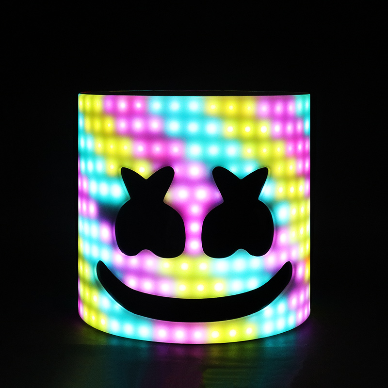 LED Arylic Type!!! 28cm 45 Styles LED DJ Mask Marshmallow Helmet Marshmallow Mask Face Hat Music Fans Concert Props Helm
