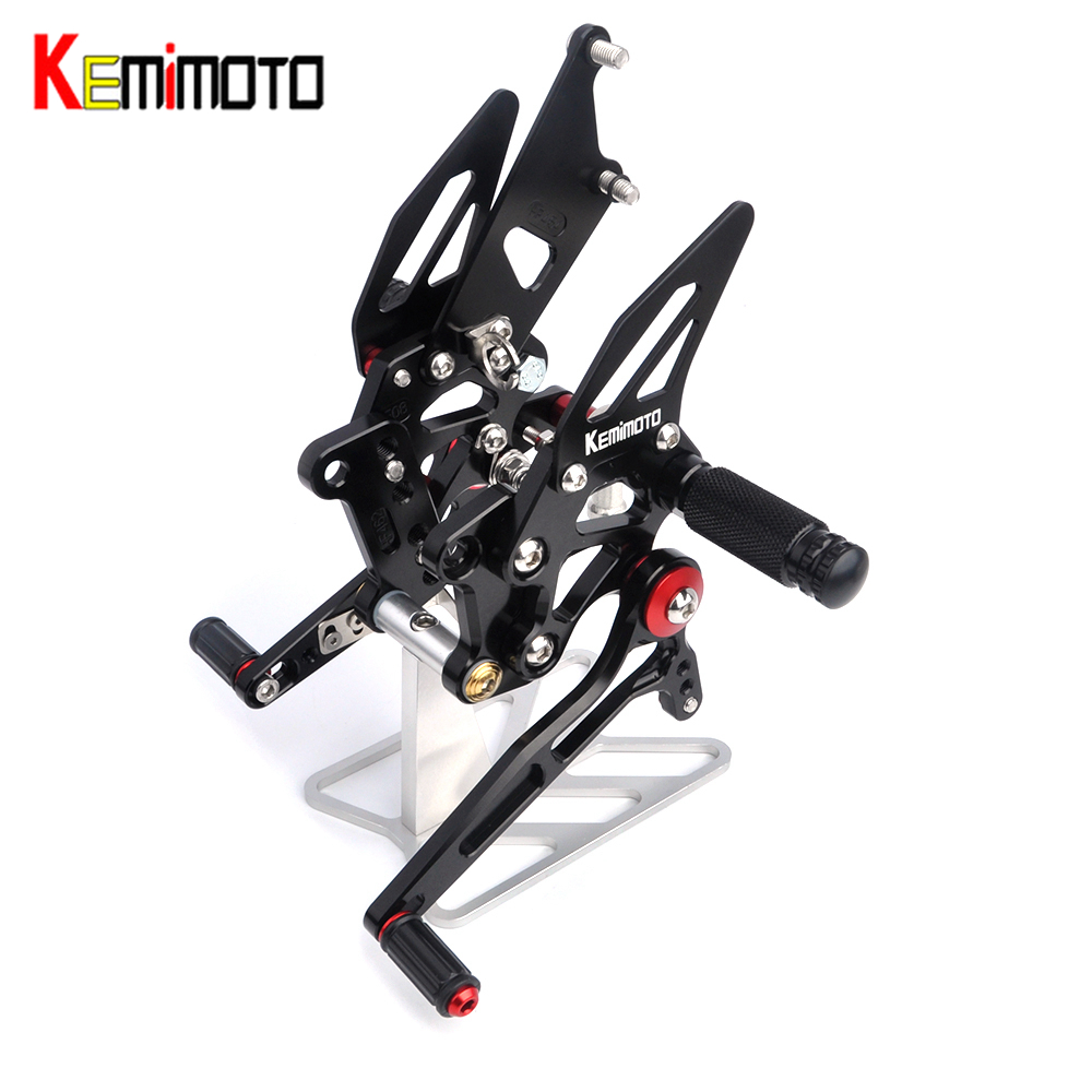 KEMiMOTO Motorcycle Accessories Adjustable Rear Set Rearsets Footrest For Kawasaki NINJA250R EX250K NINJA 250R 2008 2009
