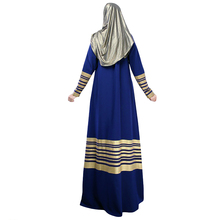 Vintage Dress 2017 Women Muslim Maxi Dress Stripes Zipper Long Sleeves Abaya Kaftan Islamic Robe Long Dress Ropa Mujer