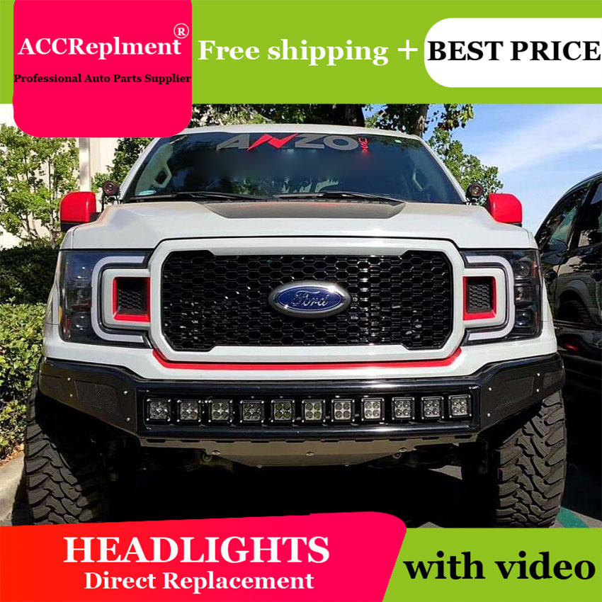 AUTO.PRO 2018-2019 For Ford f150 headlights parking Q5 bi xenon lens LED DRL <font><b>H7</b></font> xenon For Ford f150 HEAD LAMPS car styling image