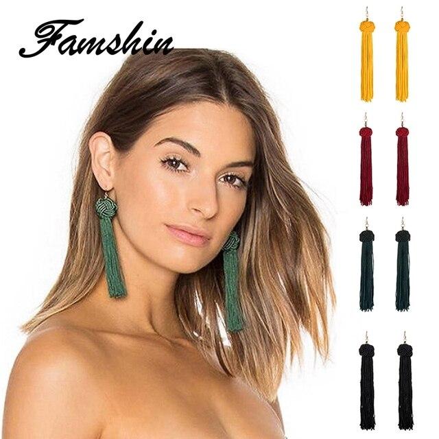 FAMSHIN Handmade Tassel Earrings 2018 Trendy Black Red Yellow Green Long Dangles Ear Broncos Silk Fringed Jewellery For Women