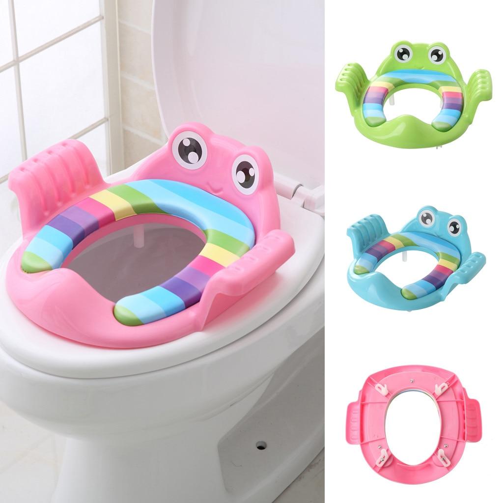 Boys Girls Baby Child Potty Toilet Trainer Seat Step Stool Ladder Adjustable Training Chair Cartoon Style Anti-splash Design