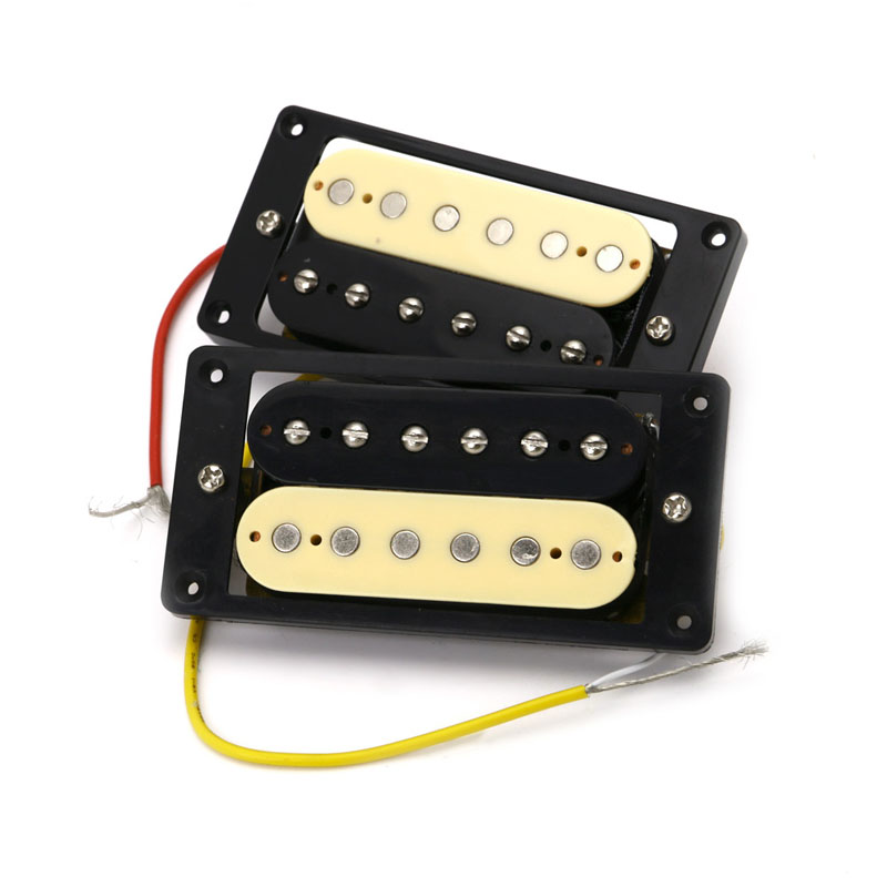 2 Metal Guitar Parts Pickups Humbucker Double Coil Electric Guitar Pickups One Black One Yellow Protable belcat electric guitar pickups humbucker alnico 5 humbucking bridge neck chrome double coil pickup guitar parts accessories