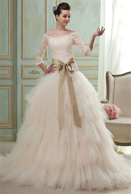 Bateau 3/4 Sleeves Wedding Dresses Gold Bridal Sash Bow Vestido De ...