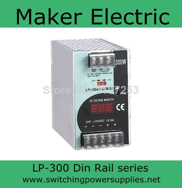 high reliable 12v 300W din rail power With the function of measuring LP-300-12 48v 500w din rail switch power without the function of measuring lp 500 48
