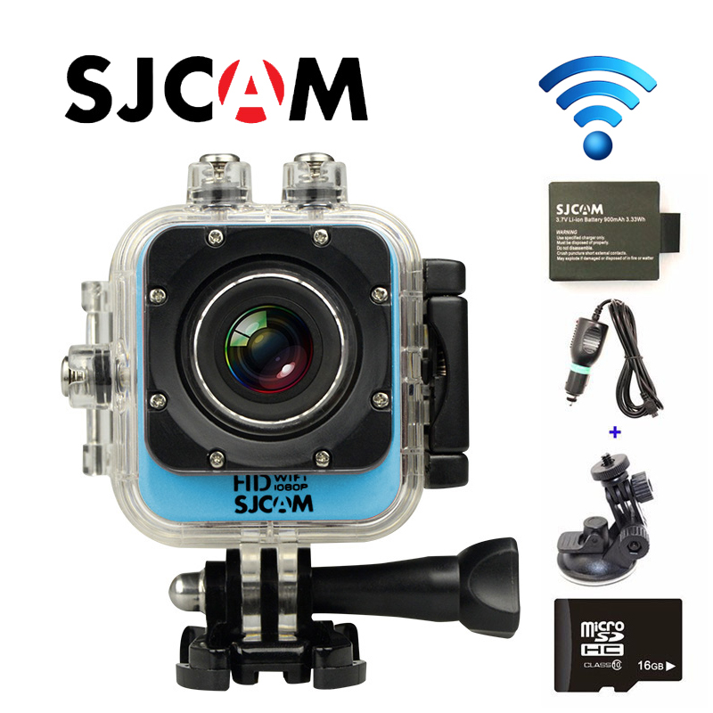 Free Shipping!! Original SJCAM M10 WiFi Mini Action Sport Action Cam+Extra 1pcs battery+Car Charger+Car Holder+16GB TF Card free shipping original sjcam sj5000 sport action camerar car charger holder monopod extra 1pcs battery battery charge for camera