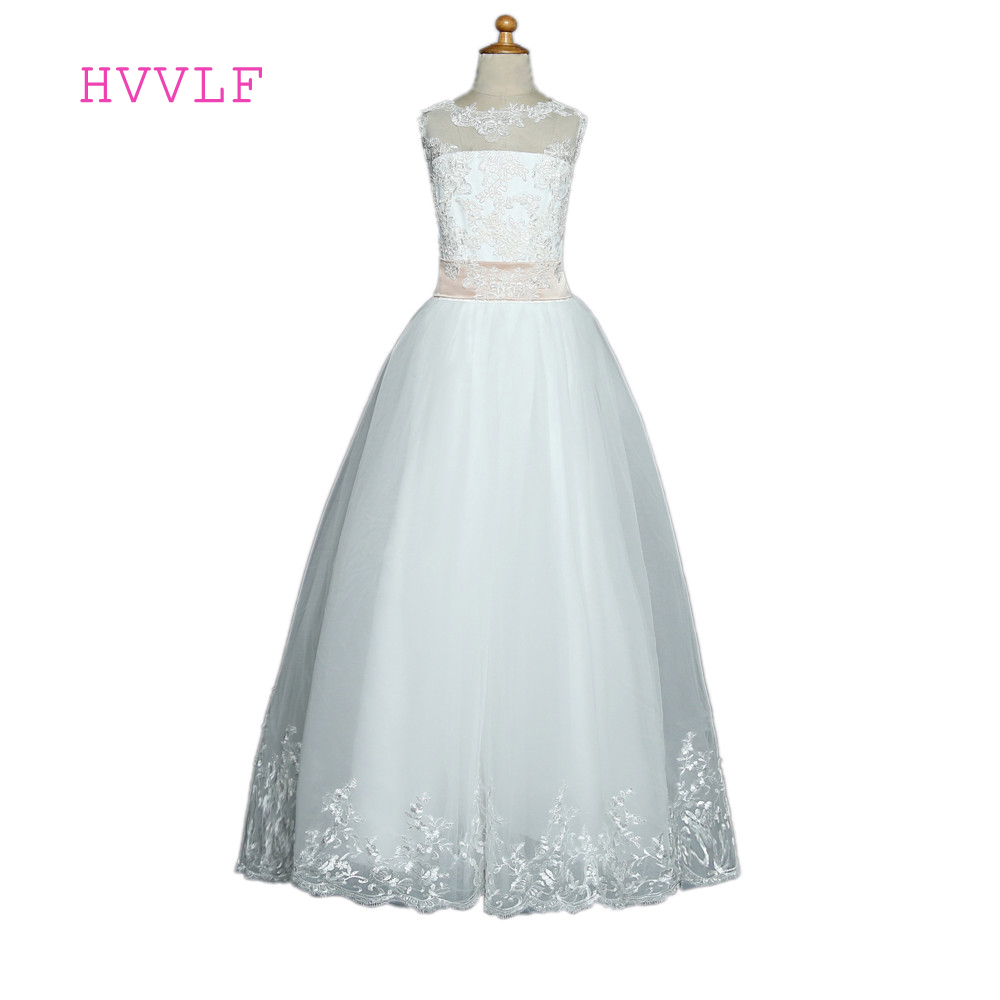 White 2019   Flower     Girl     Dresses   For Weddings Ball Gown Cap Sleeves Bow Tulle Lace First Communion   Dresses   For Little   Girls