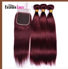 HTB1s3mddEuF3KVjSZK9q6zVtXXaa Fashion Lady Pre-Colored Ombre Brazilian Hair 3 Bundles With Lace Closure 1B/ 99J Straight Weave Human Hair Bundle Pack Non-Remy