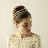 Handmade Double Beaded Hair Bands Wedding Bridal Headband Hair Accessories Womens Pearl Hairbands Gold Silver O863
