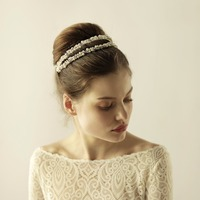 Handmade Double Beaded Hair Bands Wedding Bridal Headband Hair Accessories Womens Pearl Hairbands Gold & Silver O863