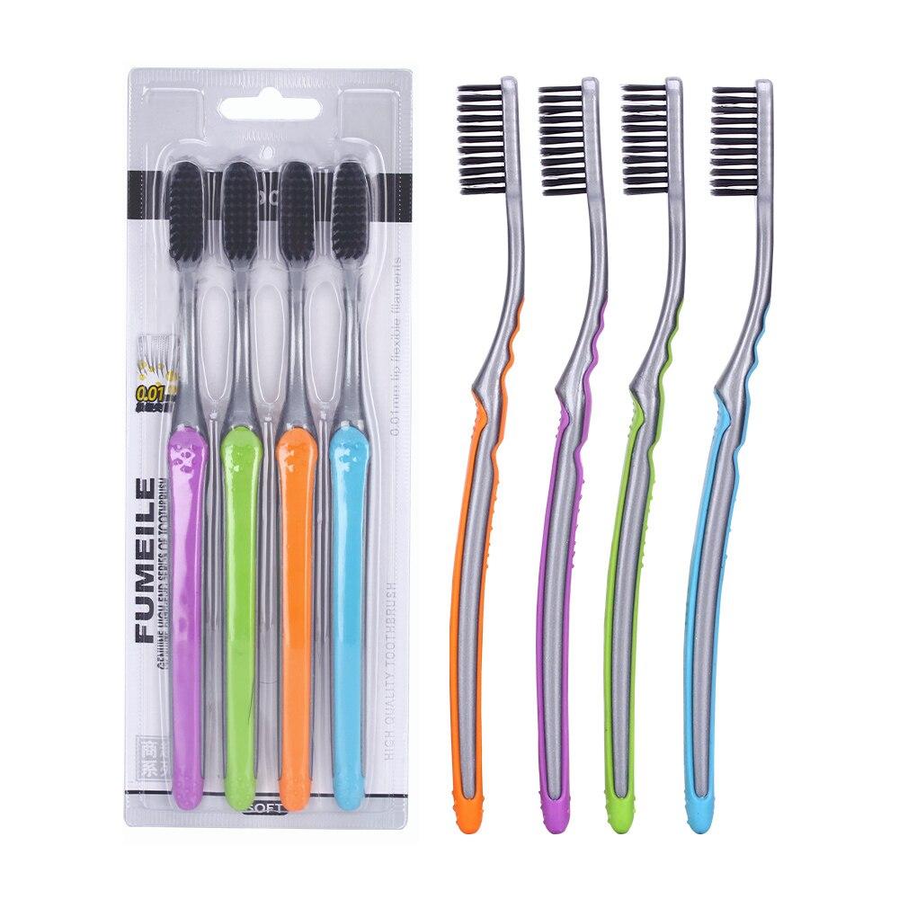 AZDENT New 4PCS Bamboo Charcoal Toothbrush Double Ultra Soft Tooth Brush Nano-antibacterial Nano Toothbrush Black Head Oral Care мастурбатор nano toys nano