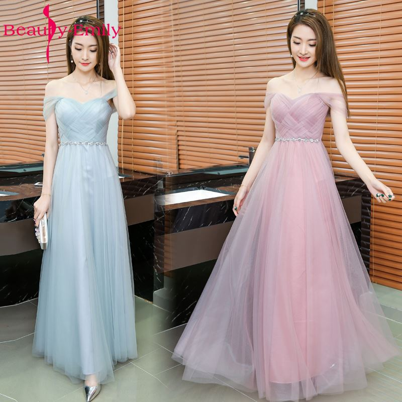 Long Pink   Bridesmaid     Dresses   A-Line Sleeveless Lace Up Off the Shoulder Wedding Party Girl Prom   Dresses