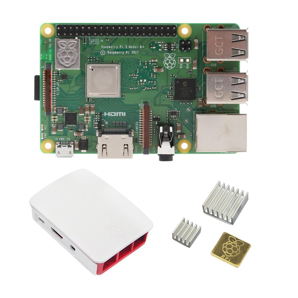 Raspberry Pi 3 Model B+ Board ( Raspberry Pi 3 Model B Plus ) + ABS Case + Heat Sink Mini PC Pi 3B/3B+ With WiFi&Bluetooth