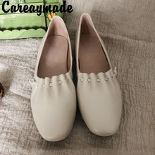 Careaymade-Korean simple square fashionable real leather on lazy shoes, womens retro literary and artistic comfort shoes