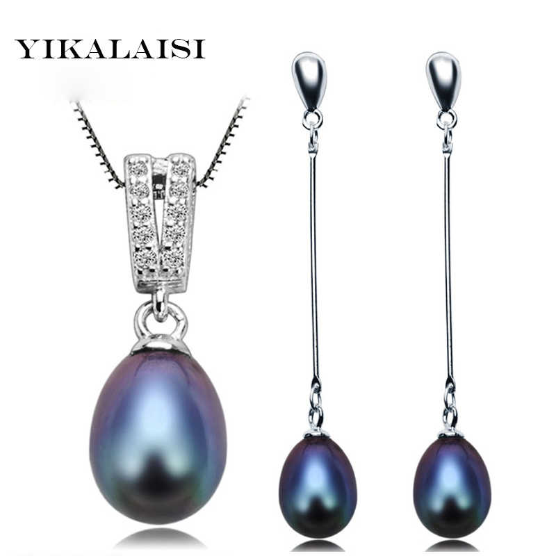YIKALAISI 2017 100% Natural Pearl Jewelry Set For Women 925 sterling Silver  Pendant Necklace  Drop Earring 8-9 mm Pearl