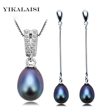 YIKALAISI 2017 100% Natural Pearl Jewelry Set For Women 925