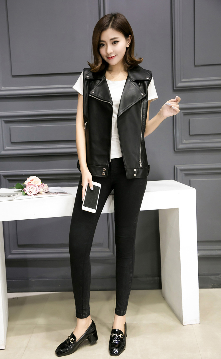 2018 Womens Sleeveless Motorcycle Jacket Turn Down Collar Pu Leather Vests S/L Female Le ...