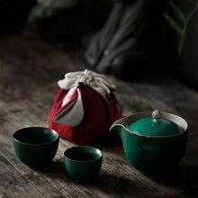 PINNY Kung Fu Portable Teaware Sets Includes 1 Pot 2 Cups With Bag Pigmented Travel Tea Set Ceramic Japanese Style Drinkware посуда drinkware tableware teaware 1 x chahai 6 water tea pot set