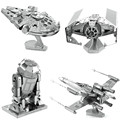 3D Metal Puzzle Full Set Star Wars R2D2 X-Wing Millennium AT-AT Destroyer Droid Tie Fighter Empire DIY Assembly Children's Toys