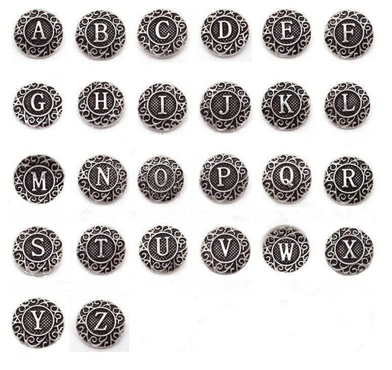 130pcs Mix metal 26 alphabet A Z snap buttons Letters charms for 18mm snaps bracelets bangls