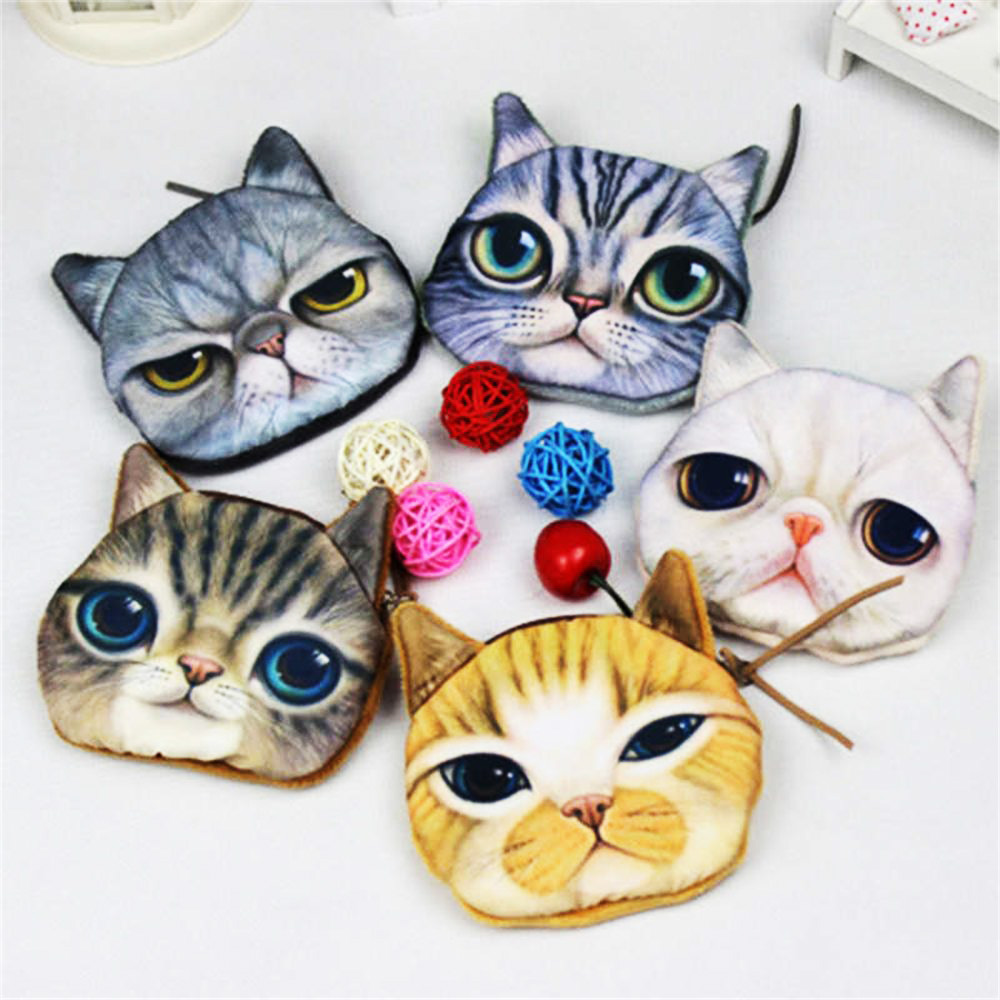 Wallet bag ladies face 3D girl  zipper mini coin purses cat shake dog children wallet coin purse bag coin purse; stuffed cat комплекты в кроватку esspero ribbon royal 6 предметов