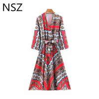 85eedc0dccbc0 NSZ Women Print Summer Asymmetrical Pleated Dress Cross V Neck Half Sleeve  Knee Length Dress With