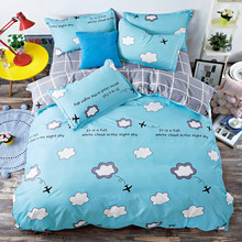Cartoon 4 Pieces 100% Cotton Duvet Cover Sets for Boys Girls with Elephant Elk Printed Pillowcase Bed Sheet Linen 200x230