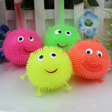 2017 Color Random Flash Led Bouncy Balls Glowing Smile Soft Rubber Ball Toy Luminous Jump Fluffy Ball Toys(China)