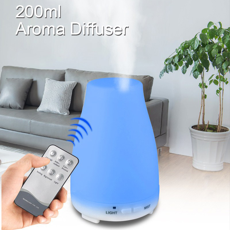 200ml Remote Control Essential Oil Aroma Diffuser Ultrasonic Cool Mist Air Humidifier Aromatherapy Oil Diffusers For Baby Home