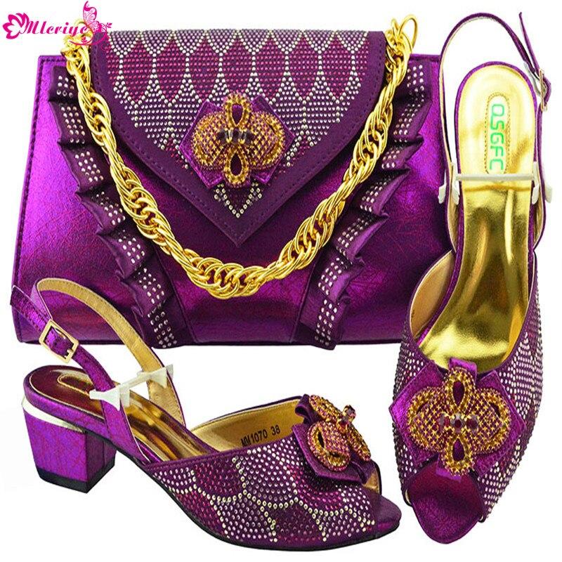 Italien Strass rose De or Ciel Sac rose Nigérian Pu Femmes Chaussures Et Cristal Avec Dernières rouge Mariage Décoré En Africain qOwFatT