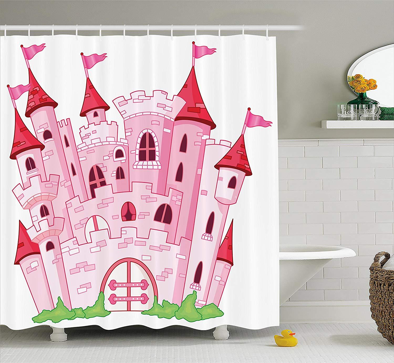 Fantasy Shower Curtain Princess Castle Cute Fairy Tale Princess Magic Kingdom Cartoon Illustration Fabric Bathroom Decor magic kingdom