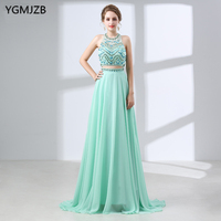 Long Prom Dresses 2018 Scoop Neckline Sleeveless Beaded Crystal African Mint Green Backless Two Piece Evening Prom Dress
