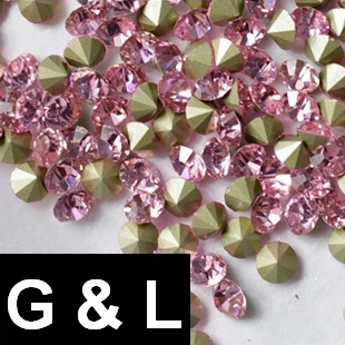 Ss11.5-ss25 Light Rose Color Pointback Rhinestones Glass Material Beads Used For Jewelry Nail Art Decoration