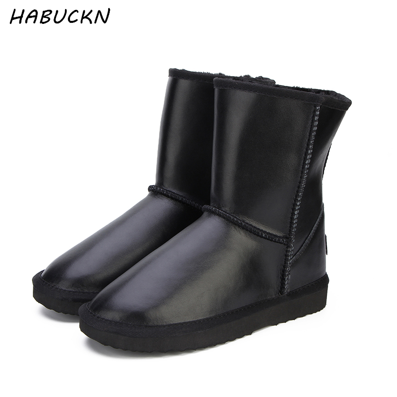 HABUCKN Australia Classic Top Quality Women's Genuine Cowhide Leather Snow Boots Fur Snow Boots Warm Winter Boots Women Boots