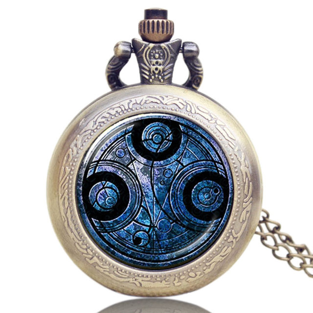 Old Antique Bronze Doctor Who Theme Quartz Pendant Pocket Watch With Chain Neckl