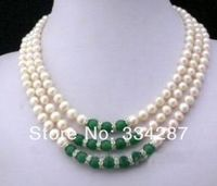 3Rows 7 8MM White Akoya Pearl and Green Jades Necklace
