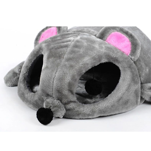 Cartoon Mouse Design Cat Bed House Soft Warm Cat Cave Beds Windproof Bottom Funny Cat Tunnel Toys