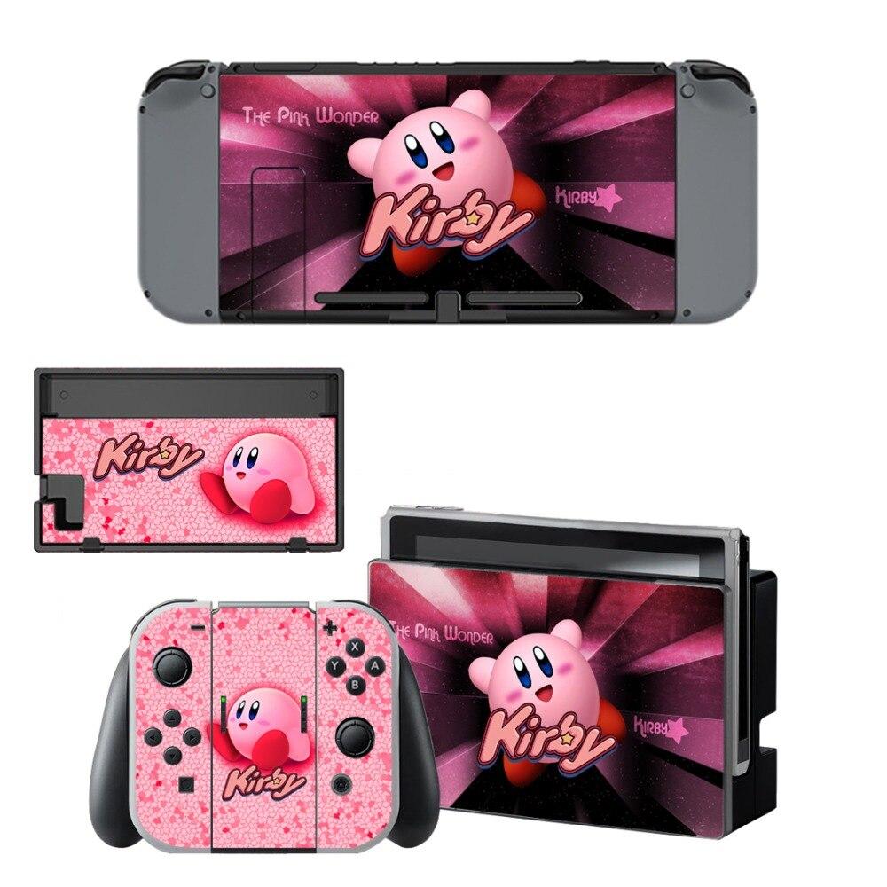 Купить с кэшбэком Nintend Switch Vinyl Skins Sticker For Nintendo Switch Console and Controller Skin Set - For Kirby