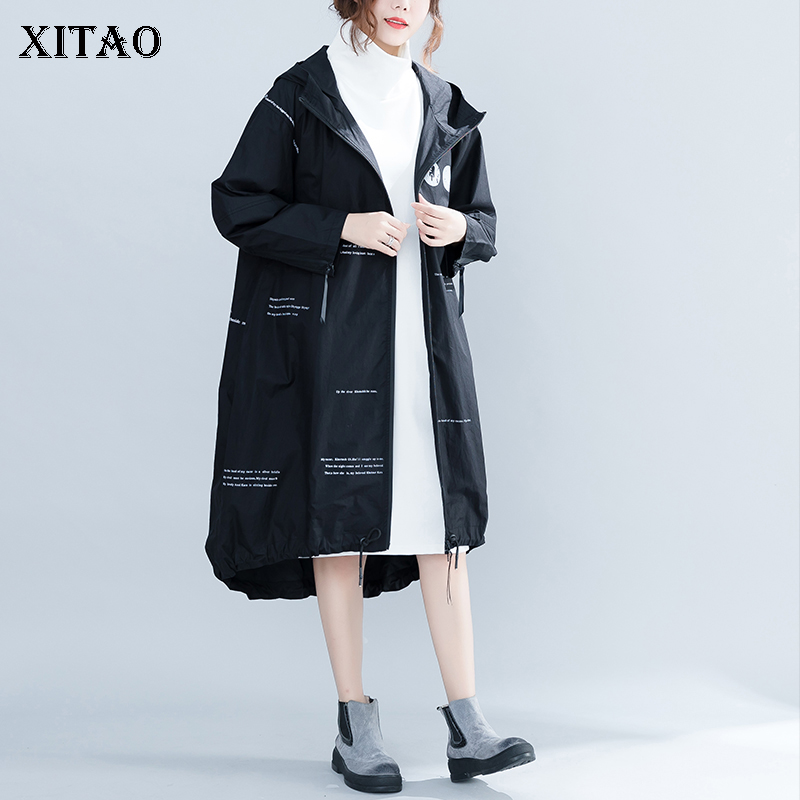 [XITAO] New Women 2018 Autumn Korea Fashion A-line Hooded Collar Full Sleeve Coat Female Print Cardigans A-line   Trench   LJT4413