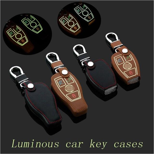 Leather car Key fob case cover for Benz W203 W210 W211 amg W204 C E S CLS CLK CLA SLK Classe keychain key holder bag Accessories