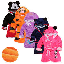 Cartoon Kids Robes Flannel Child Boys Girls Robes Lovely Animal Hooded Bath Robes Long Sleeve Baby Boy Bathrobe Child Clothing(China)