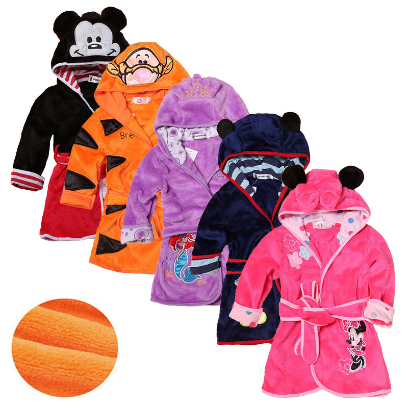 Cartoon Children's Robe Flannel Baby Bathrobe Long Sleeve Hooded Kids Bath Robe Lovely Animal Child <font><b>Boy</b></font> Girls Robes Kids Clothes image