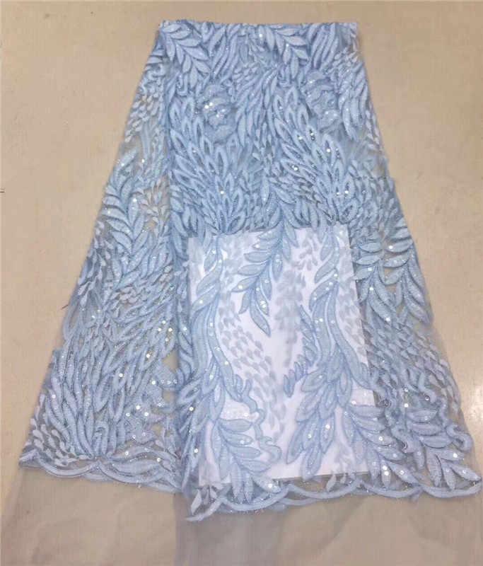 Африканская чистая кружево с блестками 5 ярдов последние нигерийские кружева 2018 небесно-голубые пайетки Ткань для шитья платье тюль кружевная ткань фиолетовый