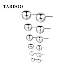Tardoo 6 Size Real 925 Sterling Silver Stud Earrings for Women Classic Minimalist Ball Earring Fine Jewelry
