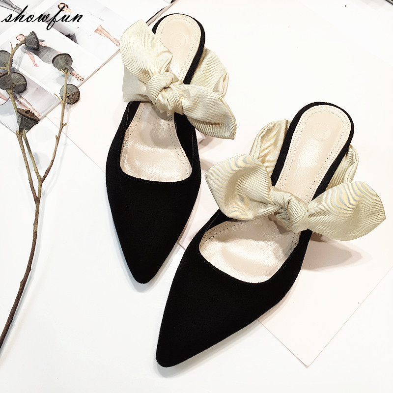 Women's Real Suede Leather Sweet Bowtie Slip-on Low Heel Elegant Ladies Slides Brand Designer Pointed Toe Summer Sandalias Shoes spring summer women leather flat shoes 2017 sweet bowtie flats women shoes pointed toe slip on ladies shoes low heel shoes pink